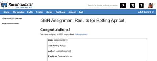 Getting an ISBN number is very exciting