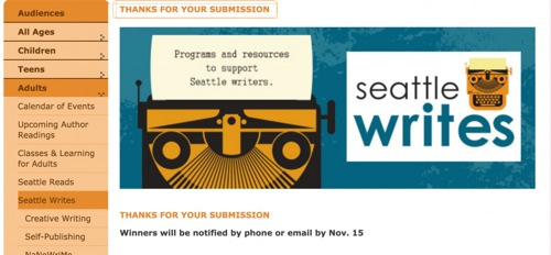 Seattle Writes contest submission page