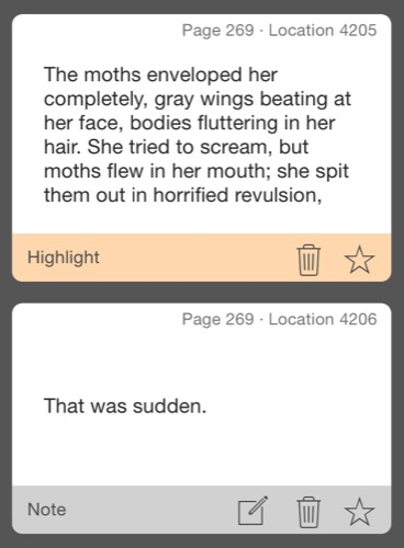 Excerpt from Matheson's Hell House about moths flying into mouths and how that's very startling