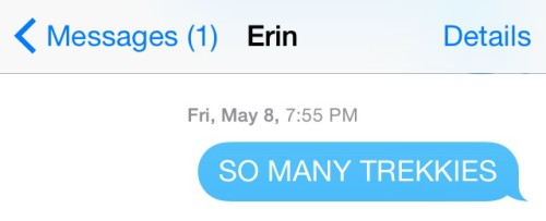 Telling Erin about all the Trekkies